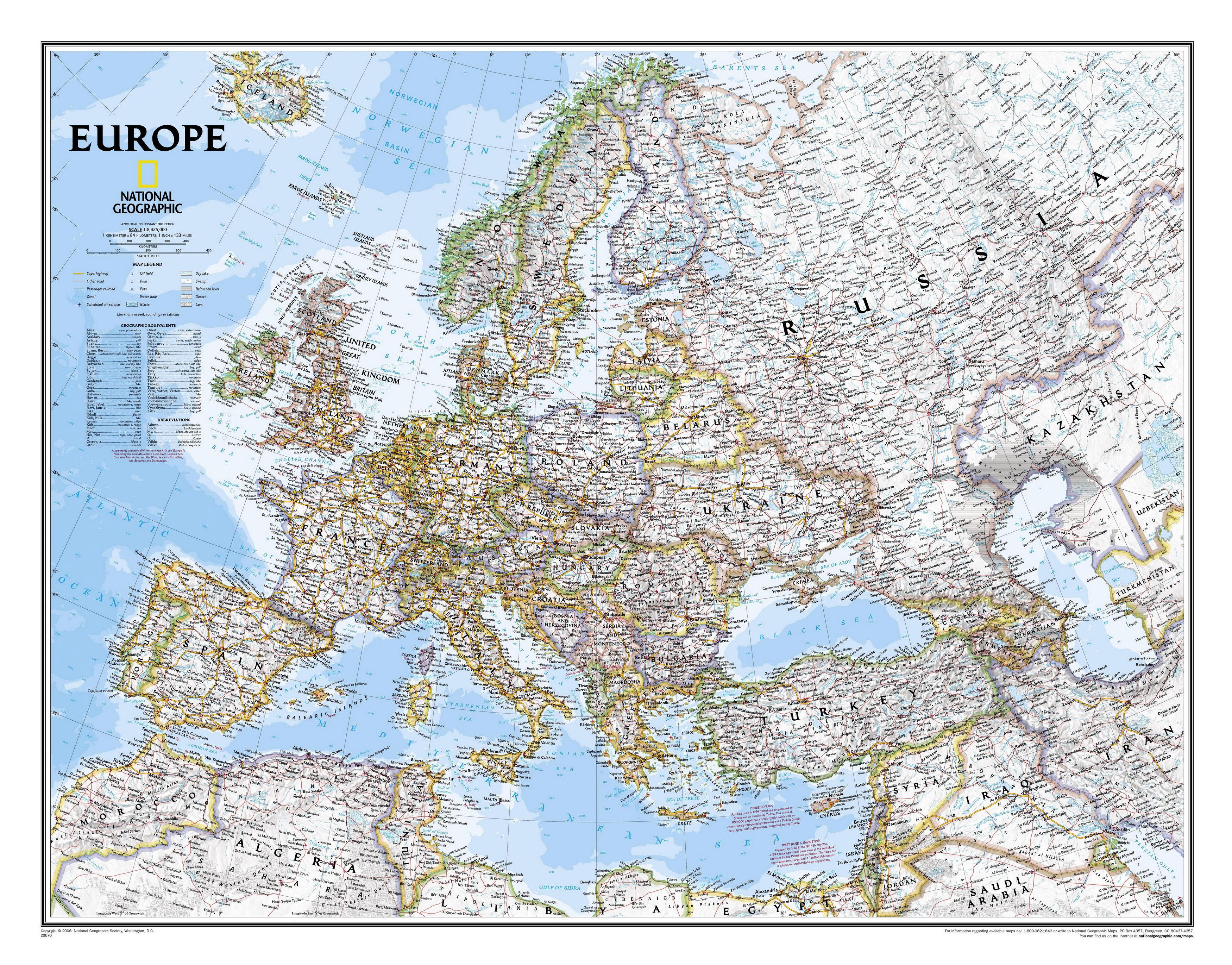 Карта стран европы